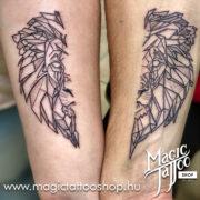 Geometrikus oroszlán tetoválás